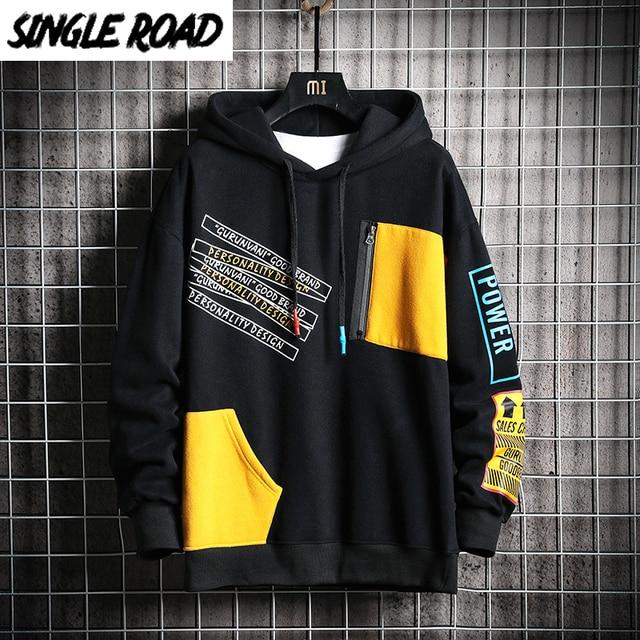 SingleRoad Kéo Nam Mùa Đông 2020 Miếng Dán Cường Lực Hip Hop Nhật Bản Dạo Phố Harajuku Đen Áo Áo Hoodie Nam Quần Tây