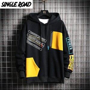 Image 1 - SingleRoad Mens Hoodies Men 2020 Winter Patchwork Hip Hop Japanese Streetwear Harajuku Black Sweatshirt Hoodie Men Sweatshirts