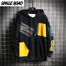 Singleroad hoodies masculinos 2020 inverno retalhos hip hop streetwear japonês harajuku preto moletom com capuz