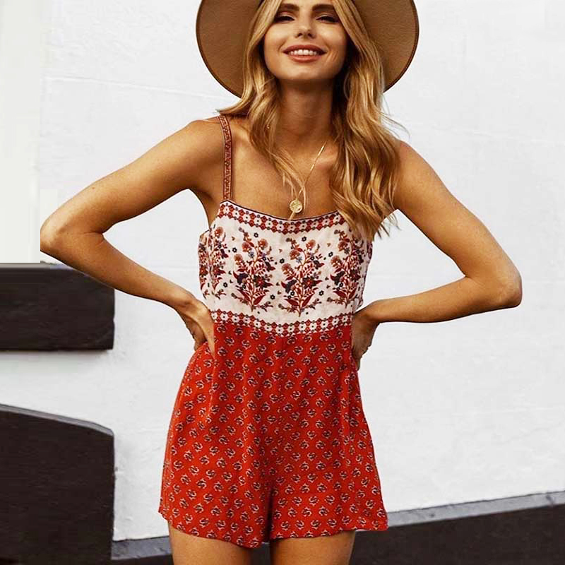 TEELYNN Boho Jumpsuit Red Floral Print Women Playsuit Sleeveless Straps Summer Romper Beach Bohemian Clothing Casual Rompers