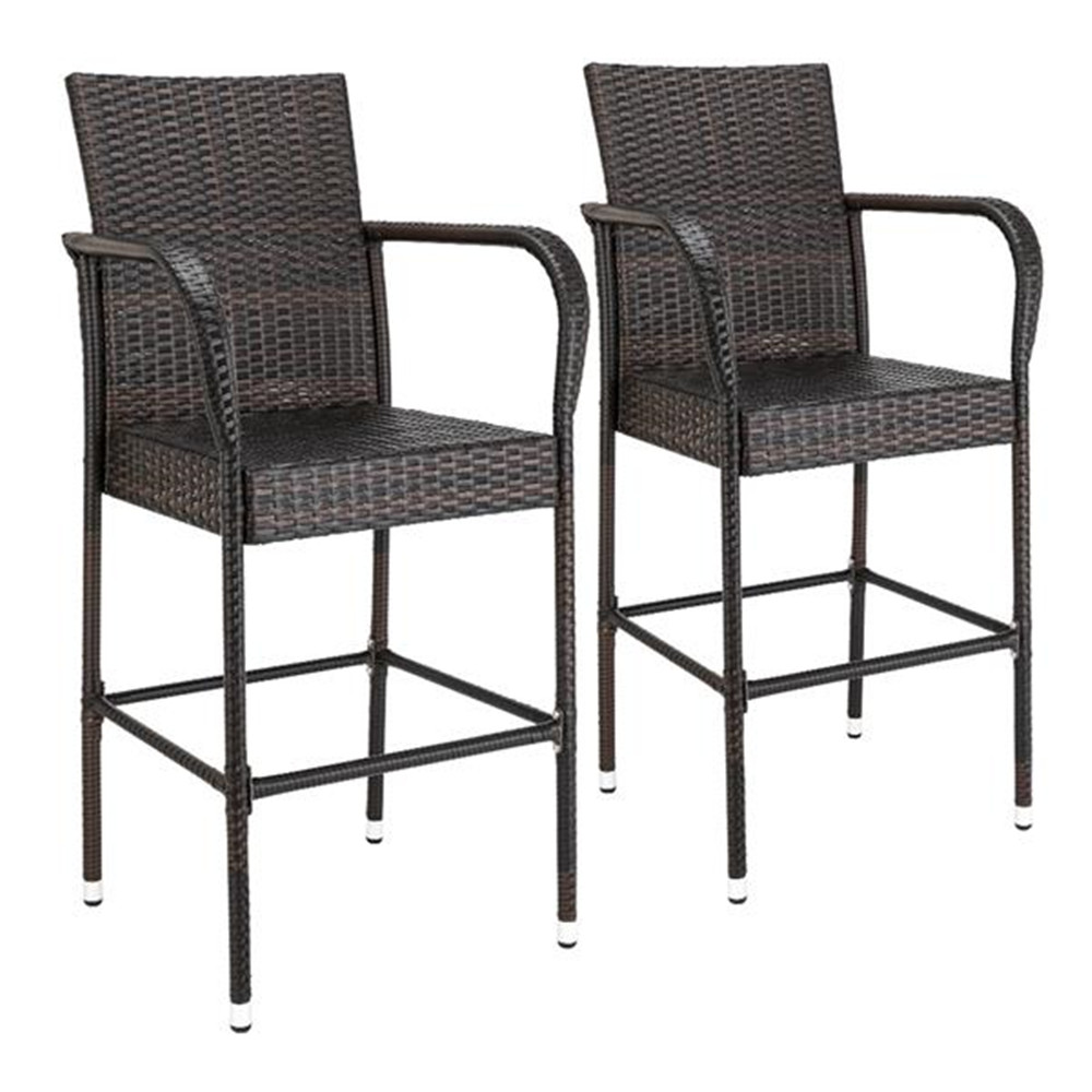 2pcs Thick Tube High Bar Chair Brown Gradient outdoor garden chairs PE Rattan 2pcs Bar Chairs