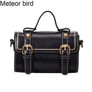 Meteor Bird mała czarna Boston torebka damska mała torebka damska Pu skórzana torba crossbody kurierska dla dziewczynki