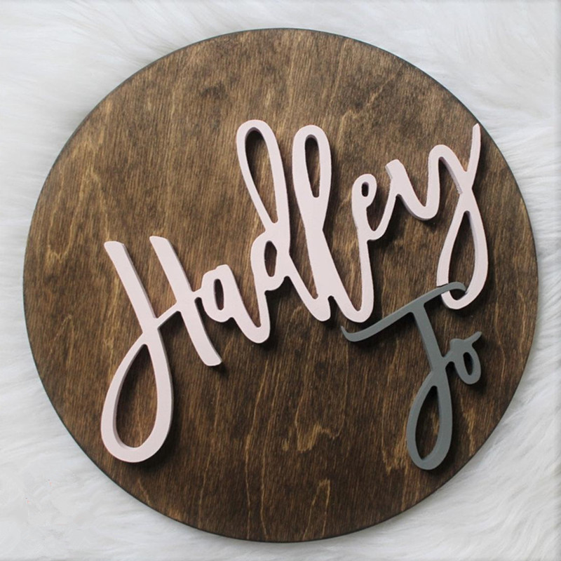 Shower Gift Baby Rustic Nursery D/écor Wood Circles Newborn Wood Baby Name Sign With 3D Effect