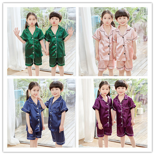 Wechat Business Hot Selling Seckilling Parent-child Matching Outfit Home Wear High Quality-Imitated Silk Fabric Korean-style Tra