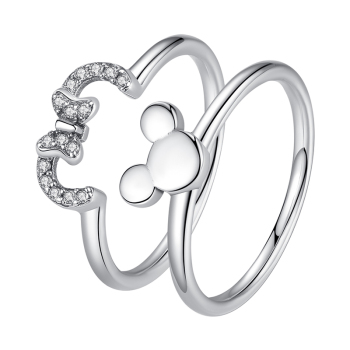 Original Jewelry 925 Sterling Silver Forever Heart Minnie Rings CZ Crystal Wedding Rings For Women Fashion Finger Rings Jewelry
