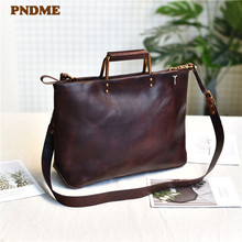 цена на PNDME fashion simple genuine leather ladies handbag vintage real cowhide women daily work weekend party shoulder messenger bags