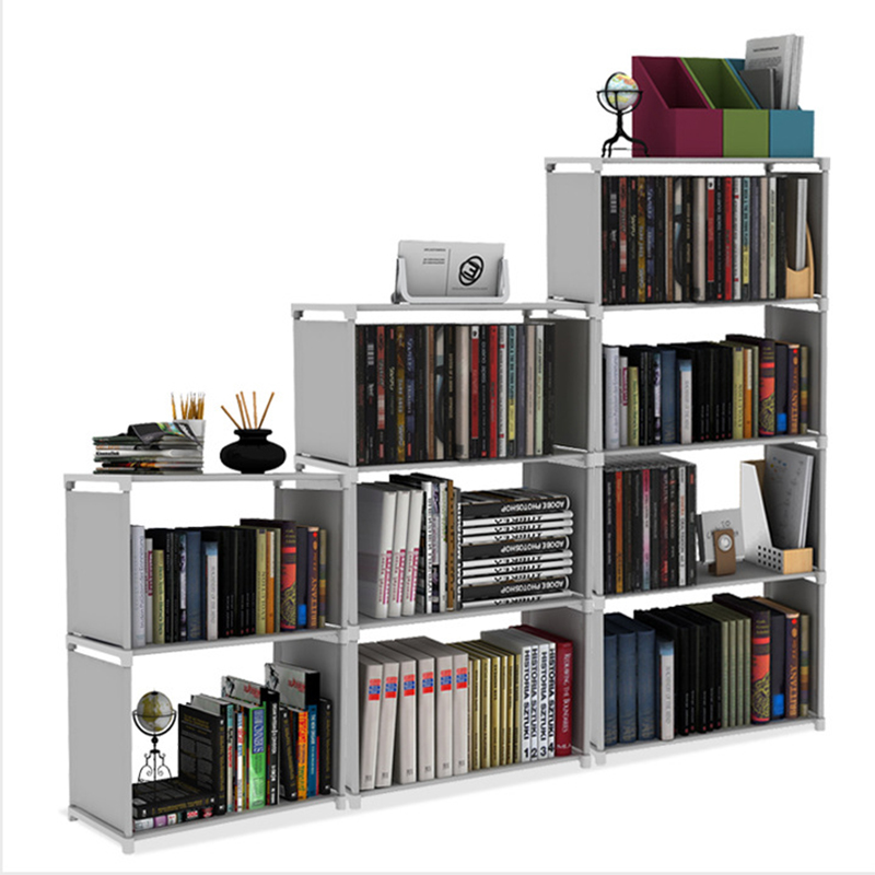 DIY Assemble Book Shelf Non-woven Fabric Storage Rack Removable Book Stand Holder Sundries Organizer Display Shelf for Home