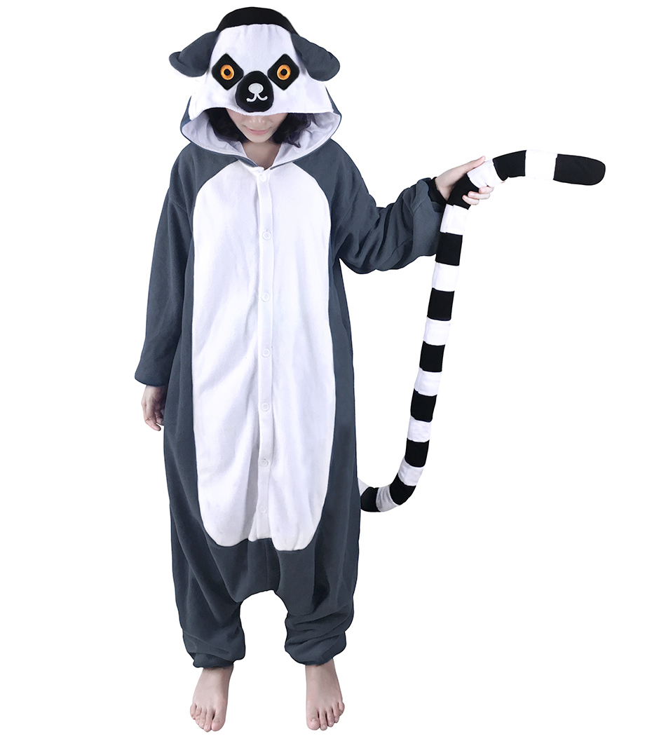 Adults Animal Pajamas Onesies Fleece Sleep Lounge Sleepwear Cute Lemur Jumpsuit Monkey Cartoon Pyjama Set