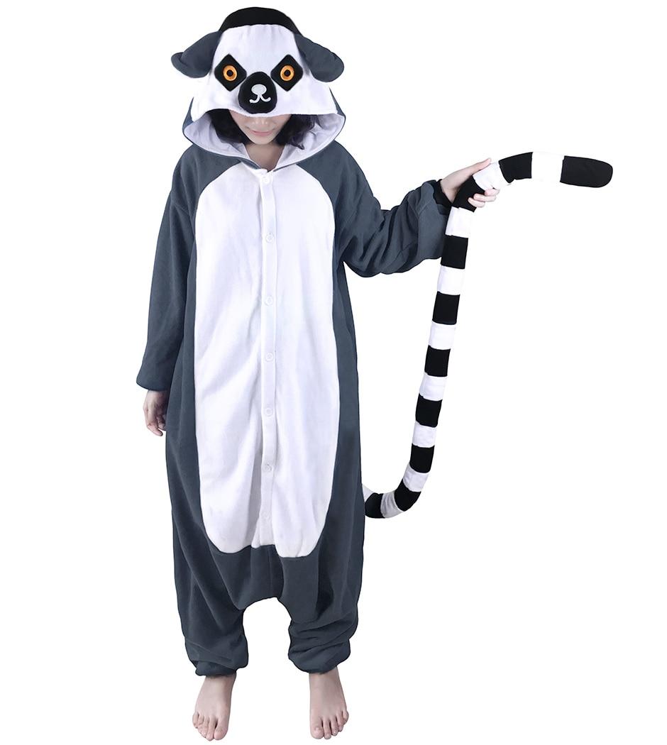 Adults Animal Pajamas Onesies Fleece Sleep Lounge Sleepwear Cute Lemur Jumpsuit Monkey Cartoon Pyjama Set