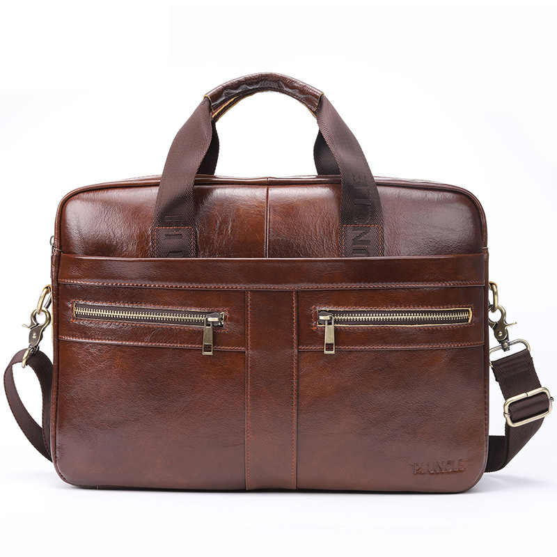 New Luxury 100% Cow Genuine Leather Business Men's Briefcase Male Shoulder Bag Men's Messenger Bag Tote Computer Laptop Bag