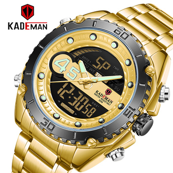 Golden Wristwatches Men LED Digital Analog Sport Military Watch Mens Dual Display Multifuntion Clock Man Quartz Watches K9054