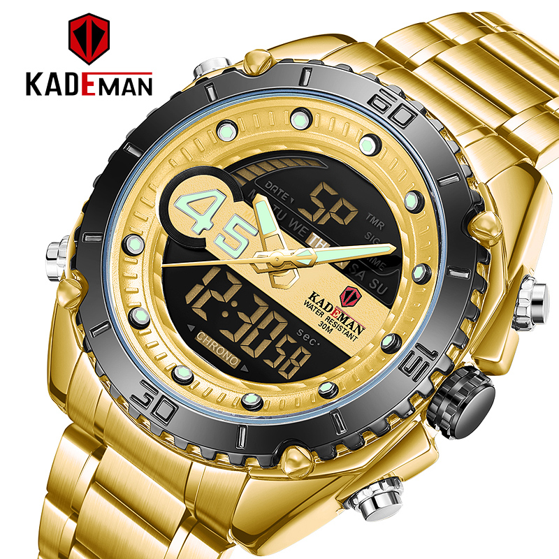 Golden Wristwatches Men LED Digital Analog Sport Military Watch Mens Dual Display Multifuntion Clock Man Quartz Watches K9054 image