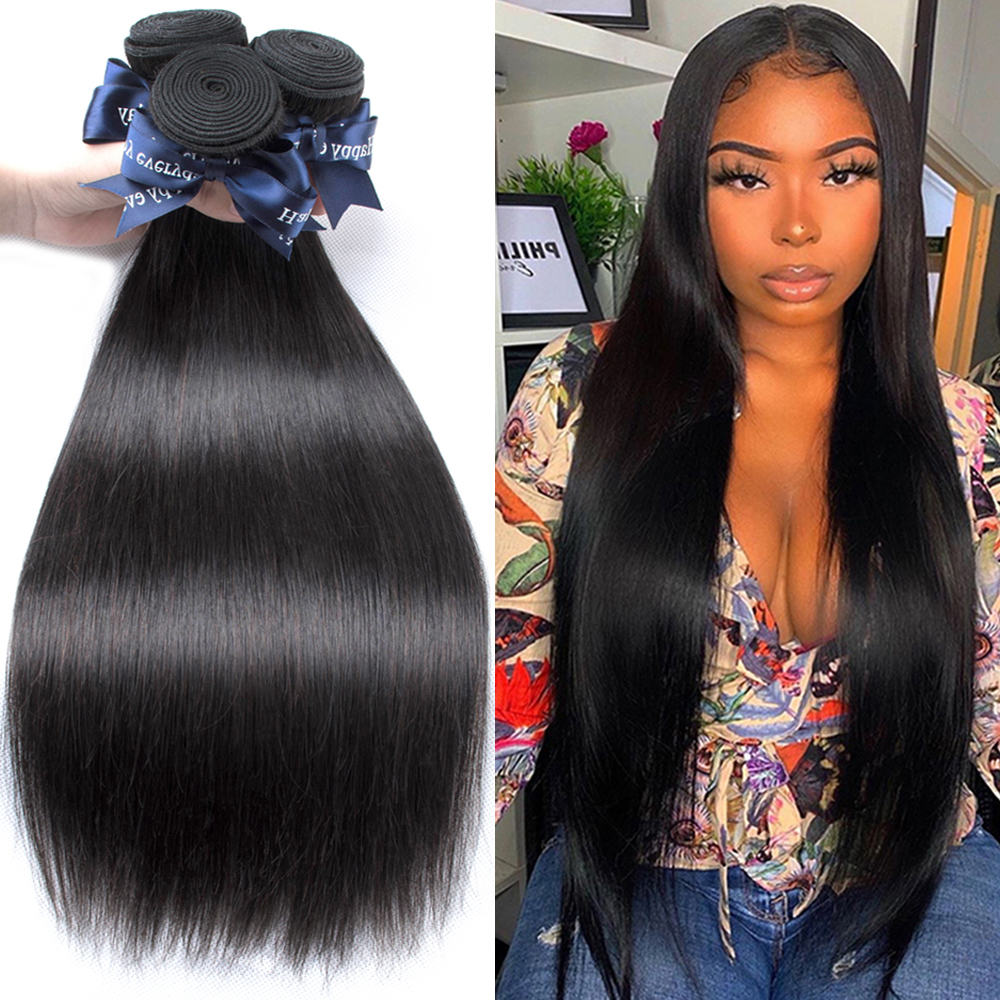 Beaudiva Straight Hair 3 Bundles Brazilian Hair Weave Bundles 100% Human Hair Bundles Remy Hair Weave 3 Pieces