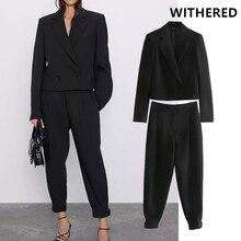 Увядший английский винтажный Однотонный черный двубортный короткий Блейзер женские куртки и плиссированные шаровары костюм брюки 2 шт. набор для женщин
