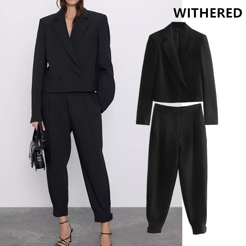 Withered England Vintage Solid  Black Double Breasted Short Blazer Women Jackets And Pleated Harem Suit Pant 2 Pieces Set Women
