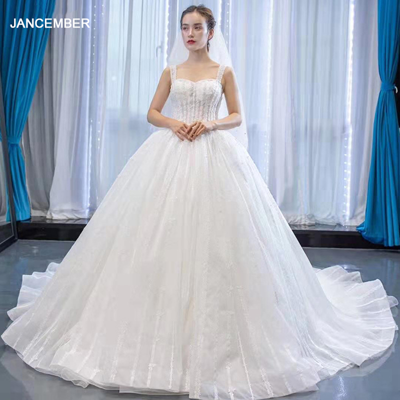 J66960 Jancember Ball Gown Wedding Dress For Women Square Collar Spaghetti Court Train With White Bride Dress свадебное платье