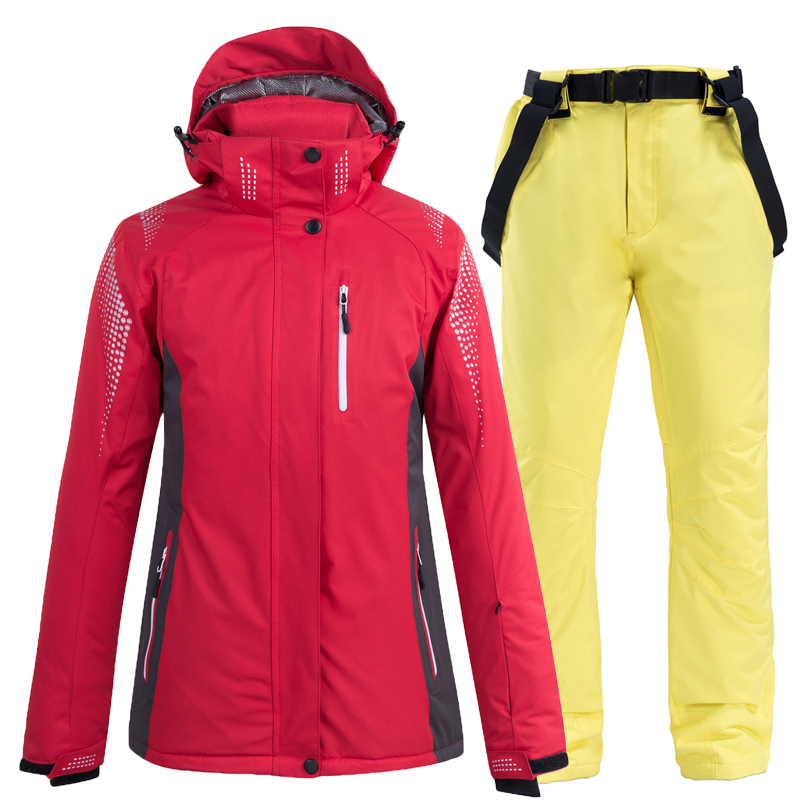 Terno de Esqui Conjuntos de Snowboard Inverno à Prova Jaqueta + Babadores de Neve Graus Feminino Masculino Neve Quente Dwaterproof Água Respirável Pant 2pcs -30