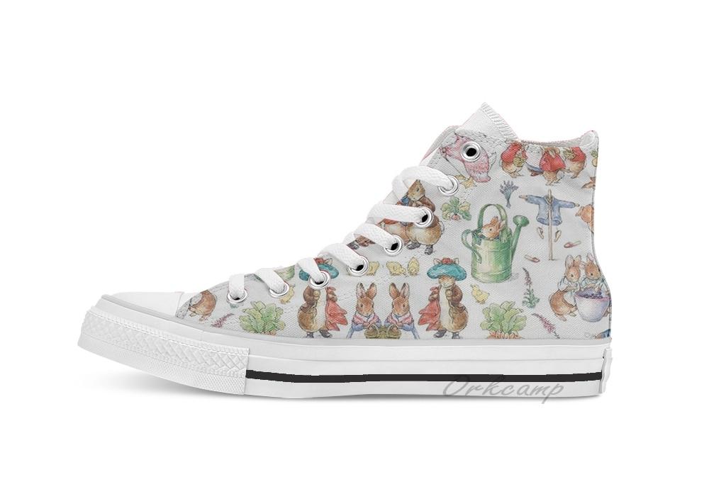 Beatrix Potter Loads Of Animals  High Top Canvas  Flat Casual Custom Design Shoes Drop Shipping