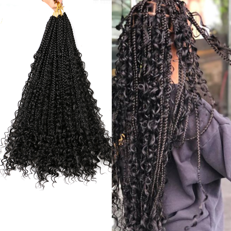 """Saisity Omber Goddess Synthetic Box Braids Crochet Bohemian Messy Box Braids Crochet Hair 22"""" 12Roots With Curly End Extensions"""