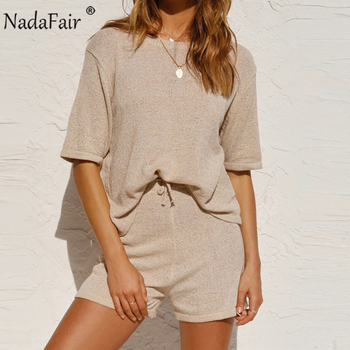 Nadafair Summer Casual 2 Piece Women Set O Neck Short Sleeve Solid Tops And Shorts Khaki Green Gray Two Piece Set Woman Outfits
