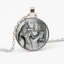 HOT Vintage Egyptian Werewolf Head Glass Pendant Necklace Fashion Crystal Inlay Woman Man Jewelry Gift Souvenir