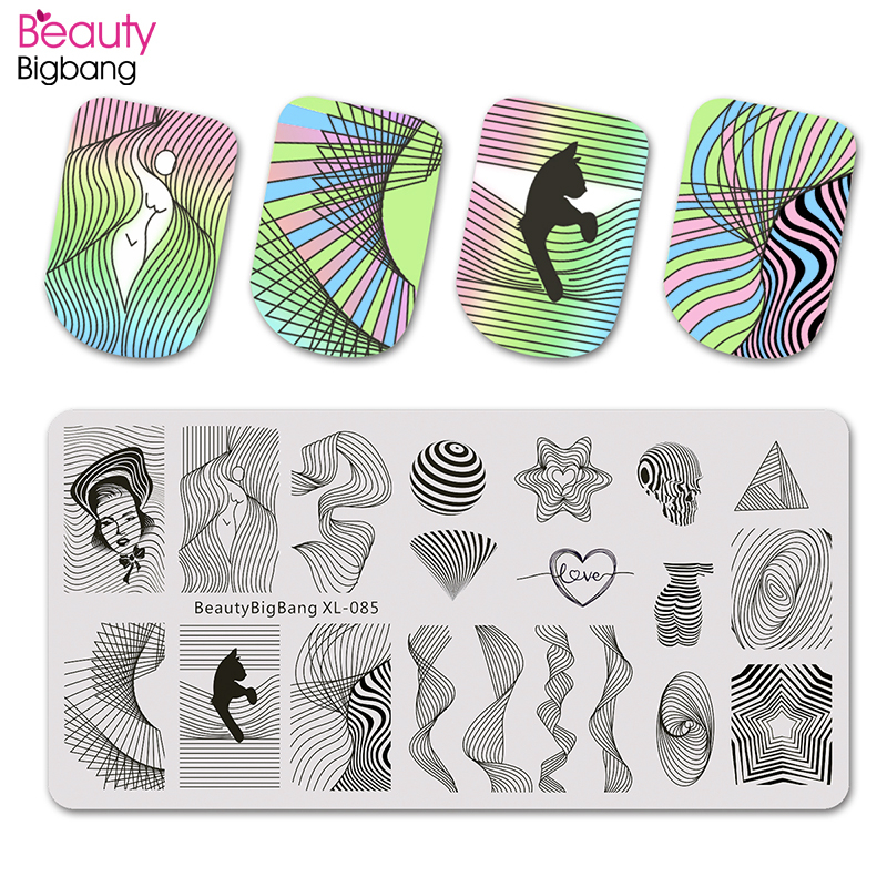 Beautybigbang Stamping Plates Nail Art Accessories Striped Lines Wave Heart Geometry Image Nails Stamping Print Template XL 085-in Nail Art Templates from Beauty & Health