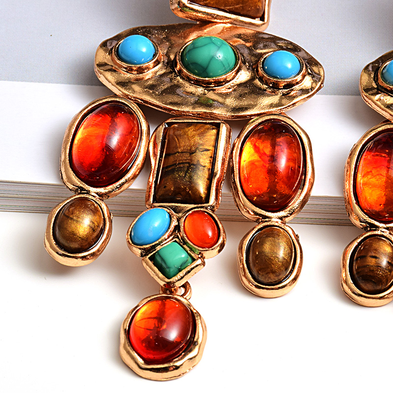 New Vintage Metal Colorful Stone Earrings High-quality Crystal Dangle Long Drop Earring Statement Jewelry Accessories For Women