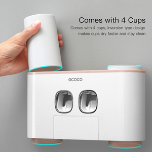 Image 4 - Ecoco ToothBrush Holder Wall Mount Toothpaste Squeezer Bathroom Accessories Set ToothBrush Toothpaste Storage Rack For Home