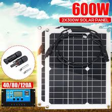 600W 300W Solar Panel Kit Sun Power Solar Cells Bank Pack W/ Connector Cover Solar Controller IP65 for Phone Car RV Boat Charger
