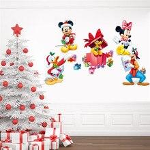 Mickey minnie pateta do feliz natal adesivos de parede para quartos dos miúdos home decor dos desenhos animados da disney decalques de parede pvc mural art diy cartazes