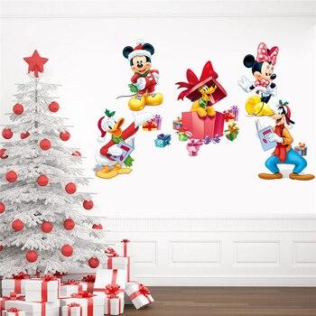 Настенные наклейки для детских комнат с рождеством, Микки и Минни Маус, домашний декор, Мультяшные настенные наклейки Диснея, ПВХ, самодельн...