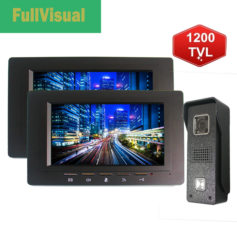 Fullvisual 7 Inch Wired Video Door Phone  Video Doorbell Intercom Waterproof 1V2 Or 2V1 1200TVL Outdoor Camera Infrared Night