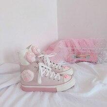 Japonés Rosa Miau chica Linda alta fantasía lona zapatos dulce lolita fiesta té kawaii princesa kawaii zapatos vintage