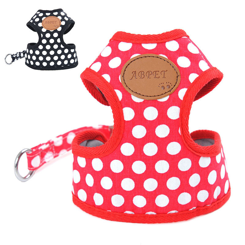 Vest Style Puppy Chest And Back Dog Hand Holding Rope Pet Dotted Chest And Back With Traction Set Safe Dog Rope