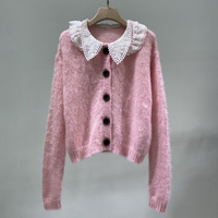 Brand Fashion Women High Luxury Winter Vintage Sweet Pink Mohair Cardigan Loose Knitted Sweater
