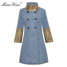 MoaaYina Fashion Designer Wool Woolen coat Winter Women Long sleeve Stand collar Diamond Elegant Keep warm Woolen coat Overcoat