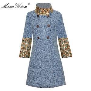 Image 1 - MoaaYina Fashion Designer Wool Woolen coat Winter Women Long sleeve Stand collar Diamond Elegant Keep warm Woolen coat Overcoat