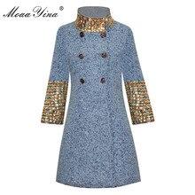 معطف عصري من الصوف للنساء من MoaaYina معطف شتوي بأكمام طويلة وياقة ثابتة مرصعة بالألماس أنيق معطف صوفي دافئ معطف