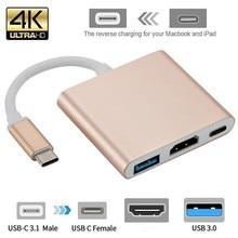 Usb c HDMI c tipi Hdmi mac 3.1 dönüştürücü adaptör tip c hdmi HDMI/USB 3.0/tip-C alüminyum Apple Macbook adaptörü için
