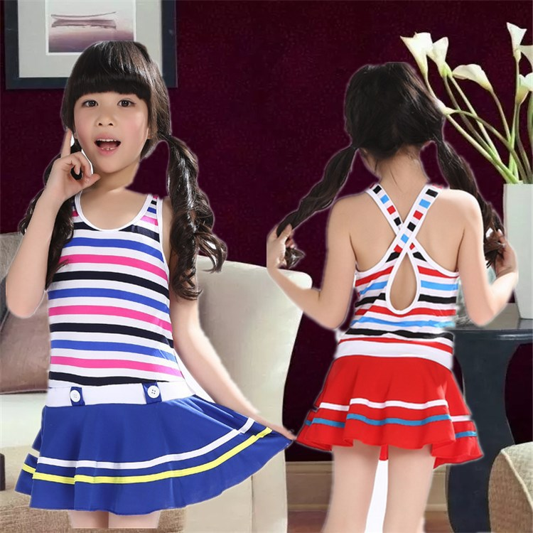 KID'S Swimwear Navy Stripes GIRL'S One-piece Swimming Suit Primary School STUDENT'S Skirt Tour Bathing Suit GIRL'S Swimwear