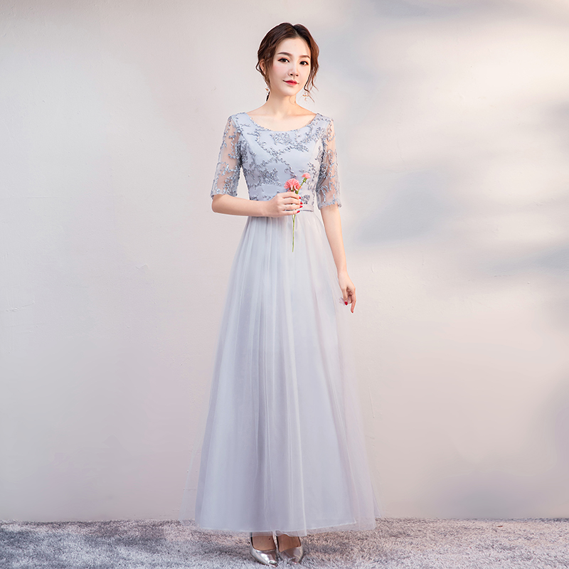 Gray Long Burgundy Bridesmaid Dress Plus Size Tulle Maid Of Honor Dress For Weddings A-Line Embroidery Sexy Dress Prom Vestidos
