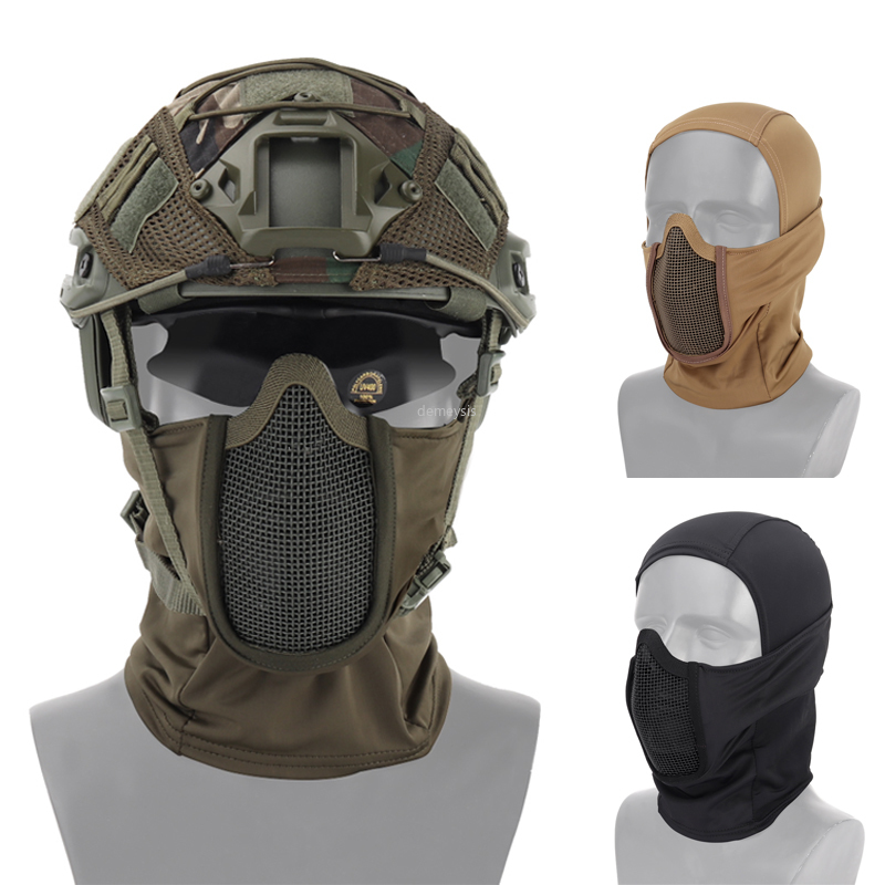 Military Airsoft Full Face Mask Tactical Steel Mesh Mask Protective Hunting Headgear Outdoor Shooting Paintball Mask Headgear