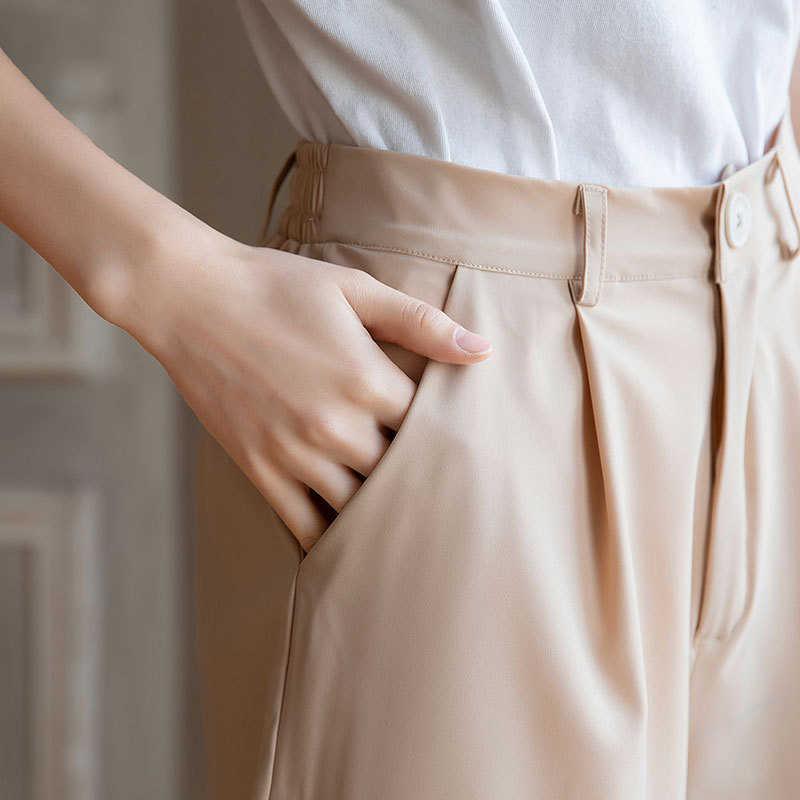 4XL Chiffon Delle Donne a gamba larga Bicchierini Femminili a vita Alta Solido della tasca Casuale di Breve 2020 di Estate di Nuovo Modo Ufficio I Vestiti della signora