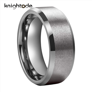 Image 1 - Bandas de boda de tungsteno para hombre y mujer, 6mm y 8mm, par de anillos de compromiso, bordes biselados, acabado mate pulido