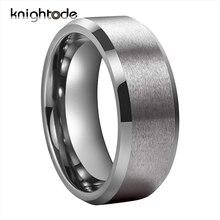 Bandes de mariage en tungstène pour hommes et femmes, anneaux de fiançailles de Couple, bords biseautés et finition mate polie, 6mm, 8mm
