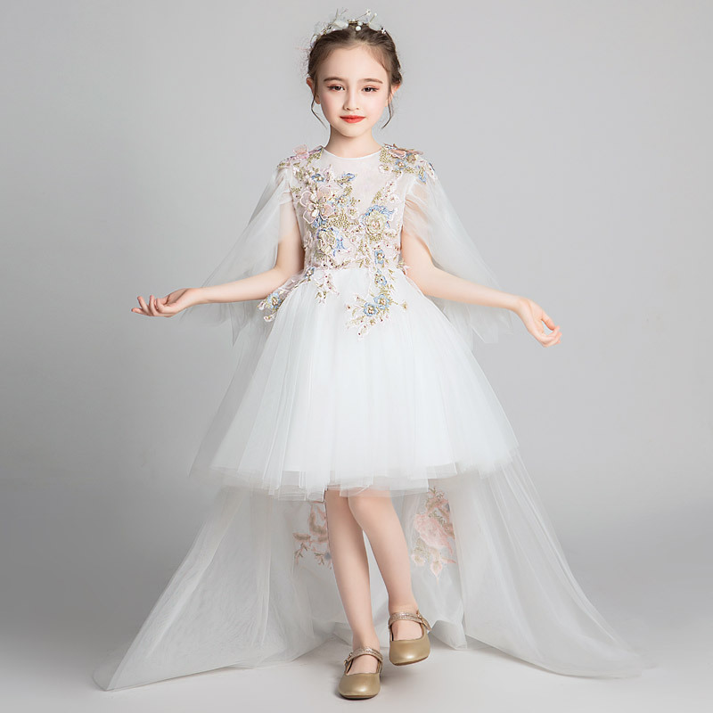 Girls White Formal Dress Princess Dress Tailing Puffy Yarn Children Small Host GIRL'S Western Style Piano Costume Autumn