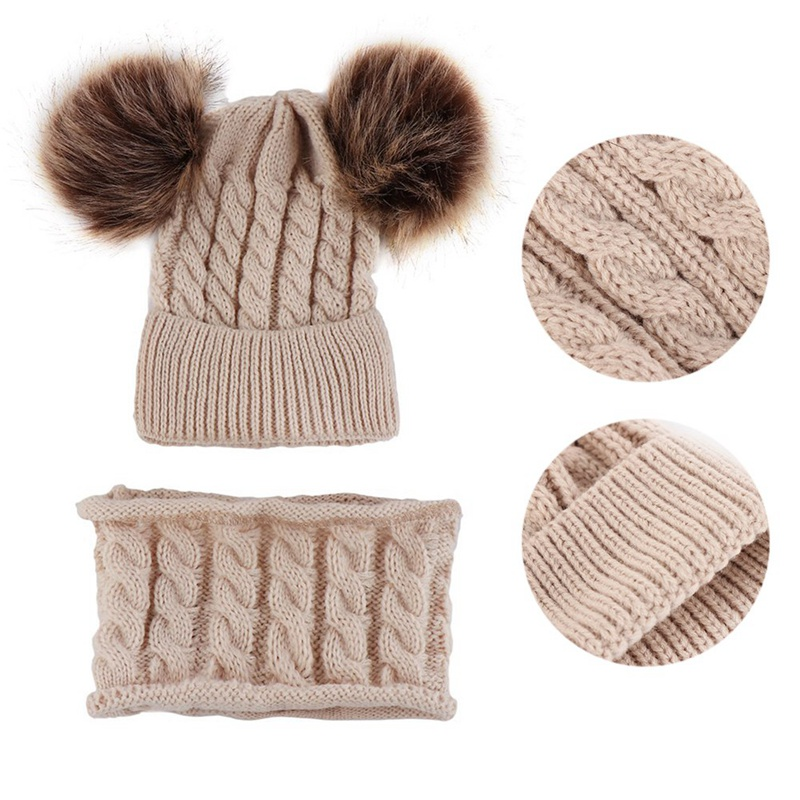 2019 New Winter Hat Scarf Set For 0-2 Years Boys Girls Children Cotton Warm Pom Poms Twist Pattern Solid Color Cute Unisex Hat