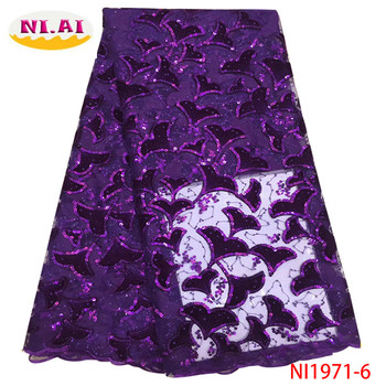 NIAI Latest Nigerian Sequins Lace Fabric 2019 High Quality African Velvet Laces Fabric Wedding French Tulle Lace Material NI1971
