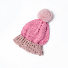 Boys Girls Winter Beanies Hat Snood Sets Lovely Cute Patchwork Pompon Hats Children Warm Soft Knitted Ring Scarf Hat Pink Red(China)