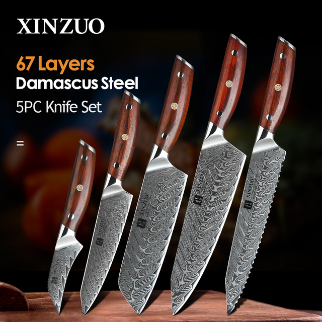 XINZUO 5 PCS Kitchen Knife Set Damascus Stainless Steel Knife Japanese New Chef Paring Santoku Slicing Utility Cooking Knives